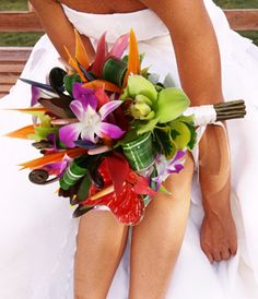 Traditional Hawaiian tropical flower wedding bouquet comes in all color combinations. www.reneethomasdesigns.com
