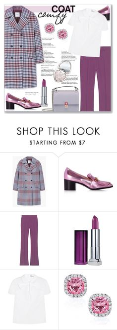 """""""comfy Coat"""" by cilita-d ❤ liked on Polyvore featuring MANGO, Gucci, Maybelline, RED Valentino, Kobelli and Too Faced Cosmetics"""