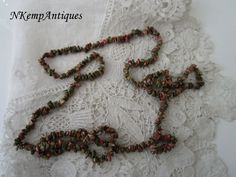 Vintage necklace semi precious stones by Nkempantiques on Etsy