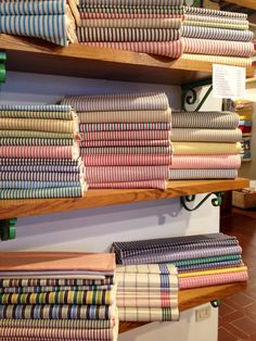 Fabrics in the Busatti showroom in Anghiari.