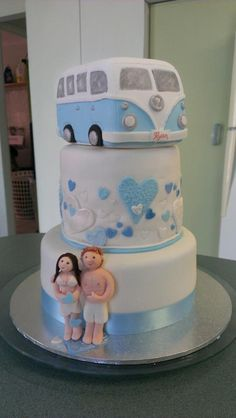 - Engagement Cake for a Kombi mad couple. All fondant decorations. Kombi is a carved foam shape covered with sugarpaste.