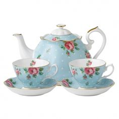 Royal Albert Polka Blue Tea for Two    Youthful and exuberant, this beautiful Tea for Two includes a teapot, two teacups and saucers, all rendered in fine bone china and combining classic form with intricate detailing, vibrant colours and a lustrous gold rim.