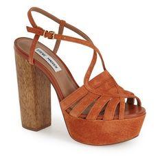 """Steve Madden 'Gingur' Platform Sandal, 5 1/4"""" heel (87.665 CLP) ❤ liked on Polyvore featuring shoes, sandals, chestnut suede, steve madden, ankle strap platform sandals, ankle wrap sandals, ankle strap shoes and high heel sandals"""