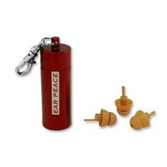 Tan Plugs With Red Case 2Pk, $19, now featured on Fab.  Way too expensive, but cute idea.