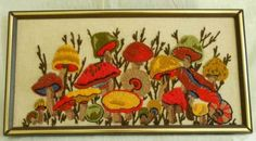 A long cluster of happy mushrooms. Needlepoint in excellent vintage condition…