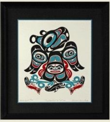 """Thunderbird in the Sun,"" by Israel Shotridge Signed, limited edition serigraph by Israel Shotridge.  Dimensions - Length: 18in. Height: 20in. Israel was born and raised in Ketchikan, Alaska. He is a member of the Bear Clan, also known as the Teikweidi people of the Tlingit tribe. Ketchikan Alaska, Tlingit, North West, Israel, Nativity, North America, Coast, Bear, Sun"