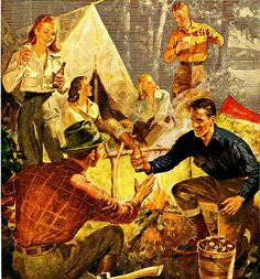 #LLBean #BeanBoots featured in vintage camp fire party schlitz beer 1946 advertisement