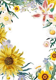 Frame Floral, Flower Frame, Flower Phone Wallpaper, Wallpaper Backgrounds, Wallpapers, Rose Vine Tattoos, Free Invitation Cards, Certificate Design Template, Yellow Art