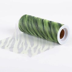 Zebra Apple Green Animal Printed Tulle Roll - 6 inch x 10