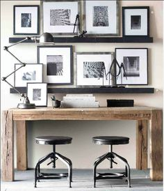 Great two person work space. Love the black and white colour palette.