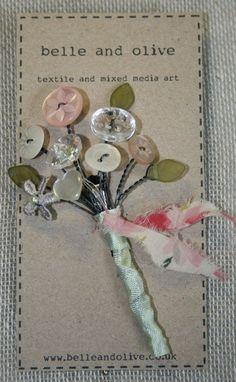 Vintage Button Bouquet Brooch Buttonhole Spray. by belleandolive