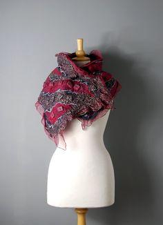 Felted collar scarf nuno felted neck warmers nuno by AnnaWegg