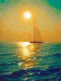 Quadros Decorativos Fine Art By Jordi Feliu. Sailboat Art, Sailboat Painting, Sailboats, Seascape Paintings, Landscape Paintings, Beautiful Paintings, Beautiful Landscapes, Fine Art, Beach Art