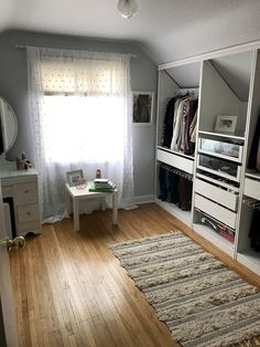 Dachwohnung Spare room turned into a walk-in closet. Custom Ikea PAX wardrobe cut to fit sloped ceil Room Closet, Bedroom Design, Low Ceiling, Closet Decor, Ikea Pax Wardrobe, Home Decor, Spare Room Closet, Sloped Ceiling Bedroom, Closet Nook