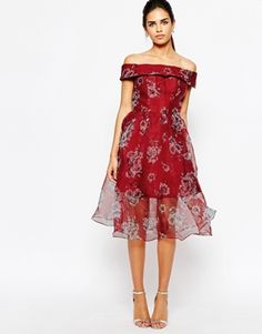Chi Chi London Off Shoulder Organza Midi Dress