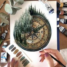 The fourth compass image is for . # Watercolor Painting The Fourth Compass Painting - Zeichnen - Painting Inspiration, Art Inspo, Design Inspiration, Watercolor Paintings, Watercolor Flowers, Painting Art, Tattoo Watercolor, Gouache Painting, Painting Quotes