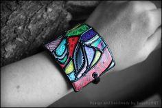 Cuff wide bracelets multicolor handcrafted by SweetlyART on Etsy, $63.00