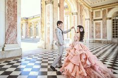 Shall we dance? Romantic scene with a gorgeous pink bridal gown!