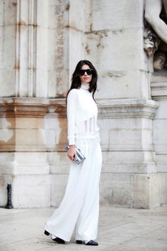 70 Life-Giving Paris Street-Style Snaps #refinery29  http://www.refinery29.com/paris-street-style#slide30  Simple white separates look angelic.