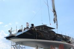 #JMVIndustries built yacht #SYBlueDiamond having her mast restepped in @STP_Palma where she has been for a 7 month yard period.  @BMComposites have been working extensively on #SYBlueDiamond during her time in the yard.  repinned by www.bmcomposites.com #compositefabrication       #makingtheimpossiblepossible