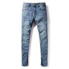 Summer Distressed Jeans Men Original Brand Clothing Solid Light Blue Jeans Slim Pants Selvedge Zipper Men`s Thin Jeans V2002