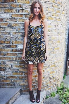 Outfit like this for my 21st... sequin dress and ankle bootie pumps