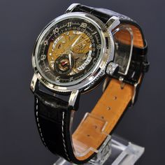 Black Date Mens Mechanical Automatic Self Winding Leather Band Watch