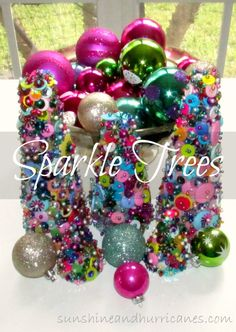 Want a simple craft that will keep kids or adults busy this Holiday Season? These easy Sparkle Christmas Trees will fit the bill and provide pretty and sparkly  decorations for a party or your home! Add some bling to all your gatherings and entertain all ages with this fun project!