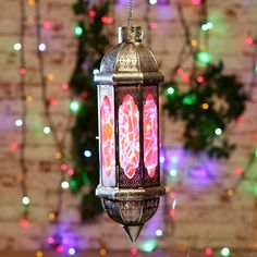 Home-decor-candles-Diwali-Illuminati Turkish Lantern Red & Silver - FabFurnish.com