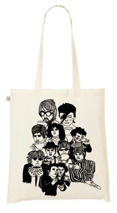 SALE Drinking tea with the start tote bag Mick Jagger/ Bowie / Adam Ant and more http://www.knuffelsalacarte.nl/tas-theedrinkende-popsterren-SALE-p-16629.html