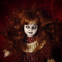 Bastet2329 OOAK Creepy Halloween Horror Doll Cracked Wild Red Hair