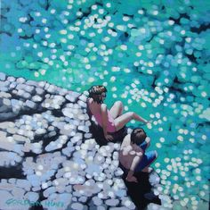 ARTFINDER: Toe in the water by Gordon Hunt - A girl and boy on the rocks by the beuatiful turquiose water, contemplate going into the water - even on this bright sunny day, it will be cold. Giglee Prin...