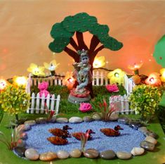 There is a long story behind this duck habitat diorama/project that I made for Bommala Koluvu My love for miniatures made me buy the ducks used in this project. Janamashtami Decoration Ideas, Mandir Decoration, Ganapati Decoration, Decoration For Ganpati, Board Decoration, Housewarming Decorations, Diwali Decorations, School Decorations, Festival Decorations