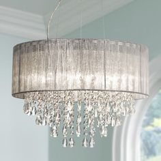 "Possini Euro Metairie 20""W Silver Fabric Crystal Chandelier:"