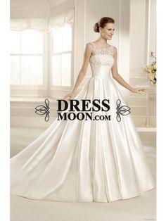 Elegant A Line Scoop Chapel Train Satin Wedding Dress - Ball Gown Dresses - Wedding Dresses - Weddings