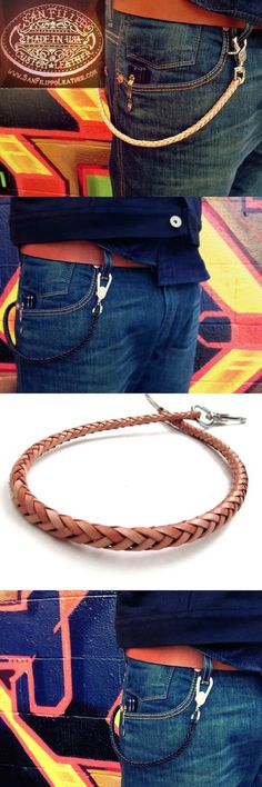 Braided Leather Wallet Chain from San Filippo Leather
