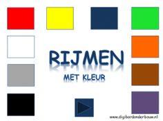 Powerpoint Downloads - Rijmen met kleur Color Shapes, Spelling, Free Printables, Museum, Letters, Colours, Kunst, Free Printable