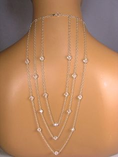 Backdrop Back Necklace 3 Strand Drape Backdrop Bridal Necklace Set Large Back Drop Necklace Swarovski Round Crystal Sterling Silver Serena