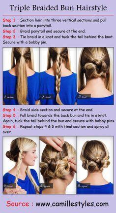 Triple Braided Bun Hairstyle | PinTutorials