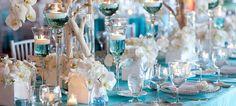 Decoração de casamento azul turquesa