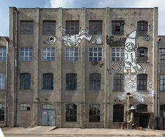 "Poland Lodz al.Piłsudskiego 135 - mural ""Bajkonur"" Krik & Gregor."