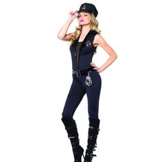 Cop sexy jumpsuit Ask ... Prices vary by size also! This includes a spandex jumpsuit, belt with attached toy handcuffs and walkie-talkie, leg strap, badge, and police hat. Other