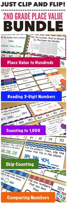 """My second graders LOVE to practice with these cards! What a fun practice and easy to prepare!"" This 2nd Grade Place Value 'Clip and Flip' Cards Bundle contains over 300 engaging, self-checking cards for students to practice key place value standards such as reading & writing numbers, counting to 1,000, skip counting by 5s, 10s, and 100s, and comparing numbers."