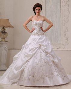 Graceful Satin Beading Ruffle Ball Gown Sweetheart Ball Gown Wedding Dress,Style No.0bg02266,US$558.98