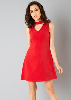 3232280415ca6d Choker A-Line Dress  FabAlley  Fashion  RedDress  Dresses  RedA-