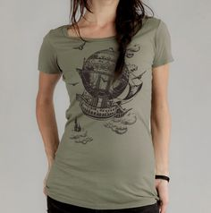 Women's T-shirt,  Vintage Steampunk Airship,  Alternative Apparel Organic T-shirt. $24.00, via Etsy.