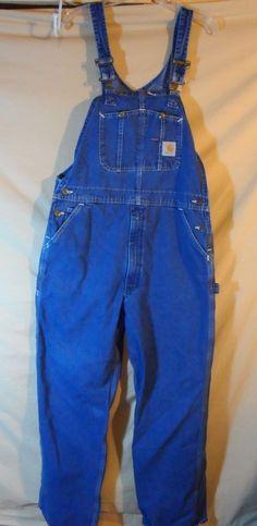 VINTAGE CARHARTT Men's Overalls Bibs Coveralls Blue Jeans Zip Leg 38x32- NICE #Carhartt #Overalls
