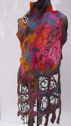 Nuno felted silk scarf GENTLE NOVEMBER GRAY AND SHADES OF PURPLE, is elegant and sophisticated for an evening party or everyday use which can be worn in a variety of ways.   This fiber art product is created from Burgundy Red silk Chiffon, and high quality Australian merino wool. I carefully dye my silk and wool for each particular scarf/ shawl using high quality dyes.  Felt does not require frequent washing; if necessary wash gently in cold water with liquid detergent made for wool pro...
