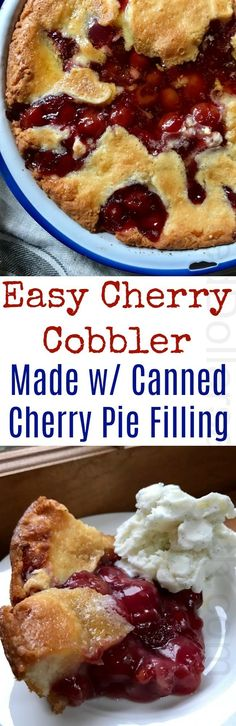 Easy Cherry Cobbler Recipe with Canned Cherry Pie Filling - One Hundred Dollars a Month Cherry Cobbler Recipe With Canned Cherries, Easy Cherry Cobbler, Canning Cherry Pie Filling, Cherry Desserts, No Cook Desserts, Easy Desserts, Delicious Desserts, Pie Dessert, Dessert Recipes