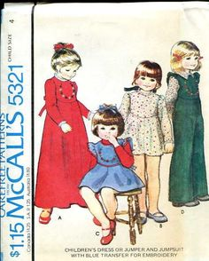 Sewing Patterns Vintage Out of Print Retro, McCall's 5321 Retro 1970's Girls Dress Jumpsuit  size 4